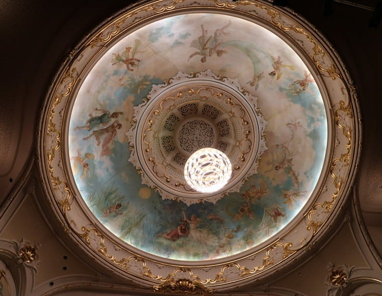 The restored painted dome of the Isaac Theatre Royal in 2017. Image: G Comfort