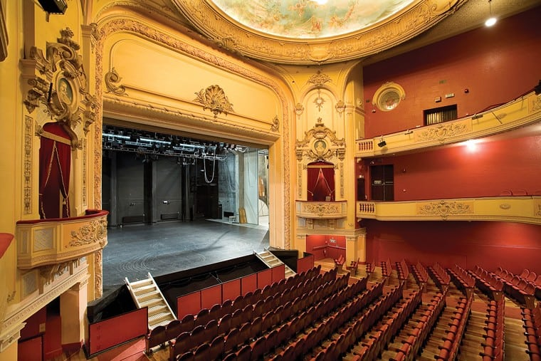 Looking onto the stage of the Isaac Theatre Royal, pre-quake